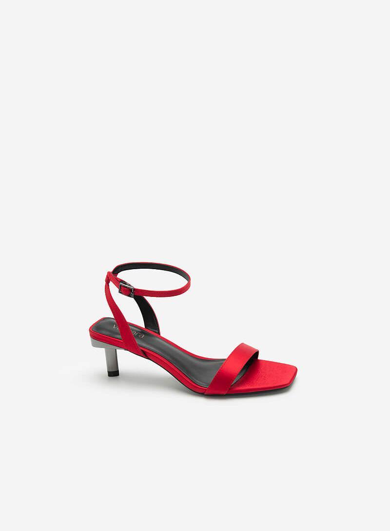 Giày Ankle Strap Gót Trụ Metallic - SDN 0680 - Màu Đỏ - VASCARA