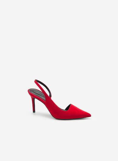Giày Slingback Cut-Out Mũi Nhọn Quyến Rũ - BMN 0450 - Màu Đỏ