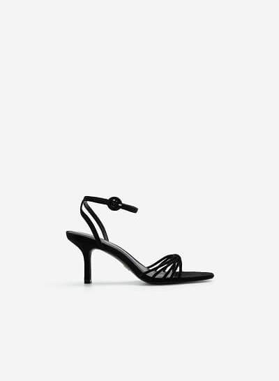 Giày Ankle Strap Quai Mảnh Đan Nơ - SDN 0679 - Màu Đen - VASCARA