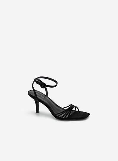 Giày Ankle Strap Quai Mảnh Đan Nơ - SDN 0679 - Màu Đen