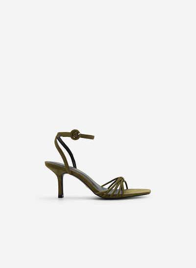 Giày Ankle Strap Quai Mảnh Đan Nơ - SDN 0679 - Xanh Olive - VASCARA