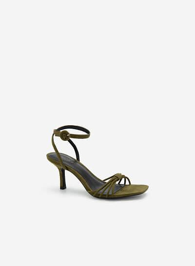 Giày Ankle Strap Quai Mảnh Đan Nơ - SDN 0679 - Xanh Olive