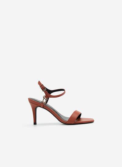 Giày Ankle Strap Mũi Vuông Quai Kim Loại - SDN 0677 - Màu Cam Đậm