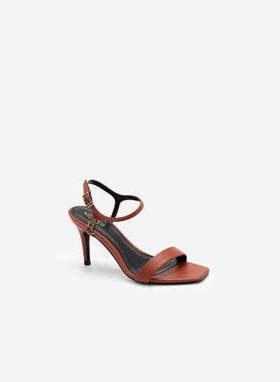 Giày Ankle Strap Mũi Vuông Quai Kim Loại - SDN 0677 - Màu Cam Đậm - VASCARA