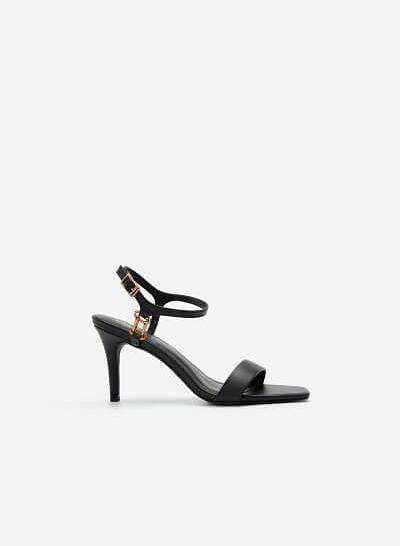 Giày Ankle Strap Mũi Vuông Quai Kim Loại - SDN 0677 - Màu Đen