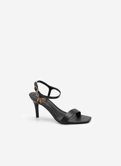 Giày Ankle Strap Mũi Vuông Quai Kim Loại - SDN 0677 - Màu Đen - VASCARA