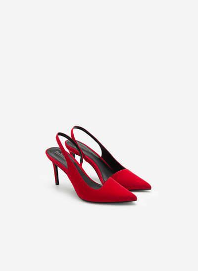 Giày Slingback Cut-Out Mũi Nhọn Quyến Rũ - BMN 0450 - Màu Đỏ - VASCARA