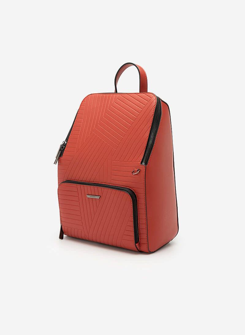 Balo Future Backpack Phối Họa Tiết Vân Nổi - BAC 0125 - Màu Đỏ - vascara.com