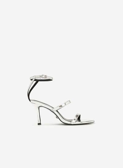 Giày Cao Gót Ankle Strap Metallic - SDN 0659 - Màu Bạc - VASCARA
