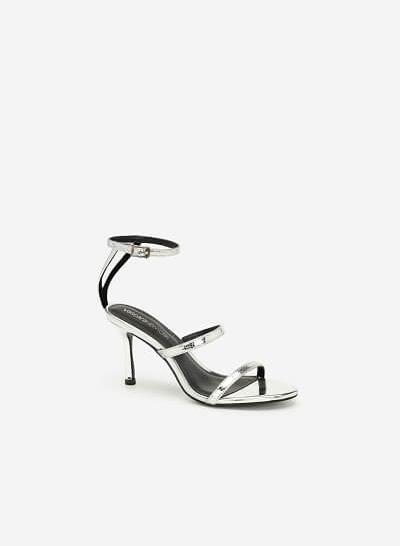 Giày Cao Gót Ankle Strap Metallic - SDN 0659 - Màu Bạc