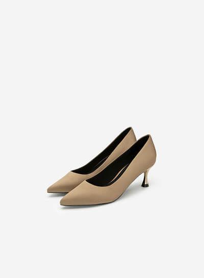 Giày Cao Gót Satin Mũi Nhọn - BMN 0402 - Màu Be Đậm - VASCARA