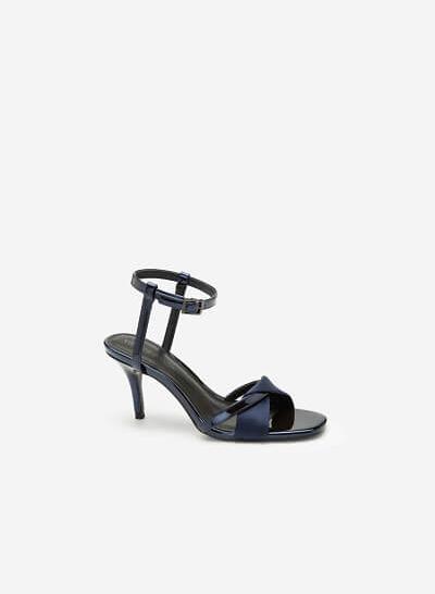 Giày Sandal Cao Gót Ankle Strap Phối Satin - SDN 0653 - Màu Xanh Navy