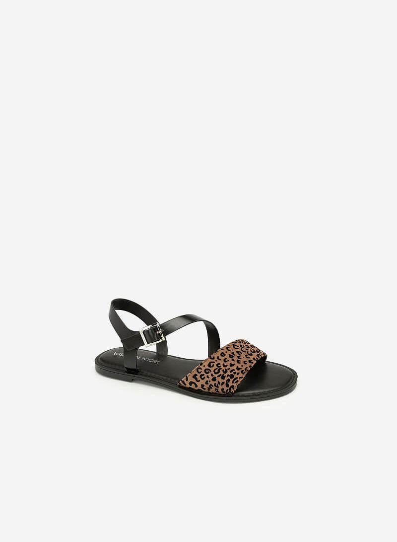Giày Sandal Họa Tiết Da Báo - SDK 0305 - Màu Be Đậm - VASCARA