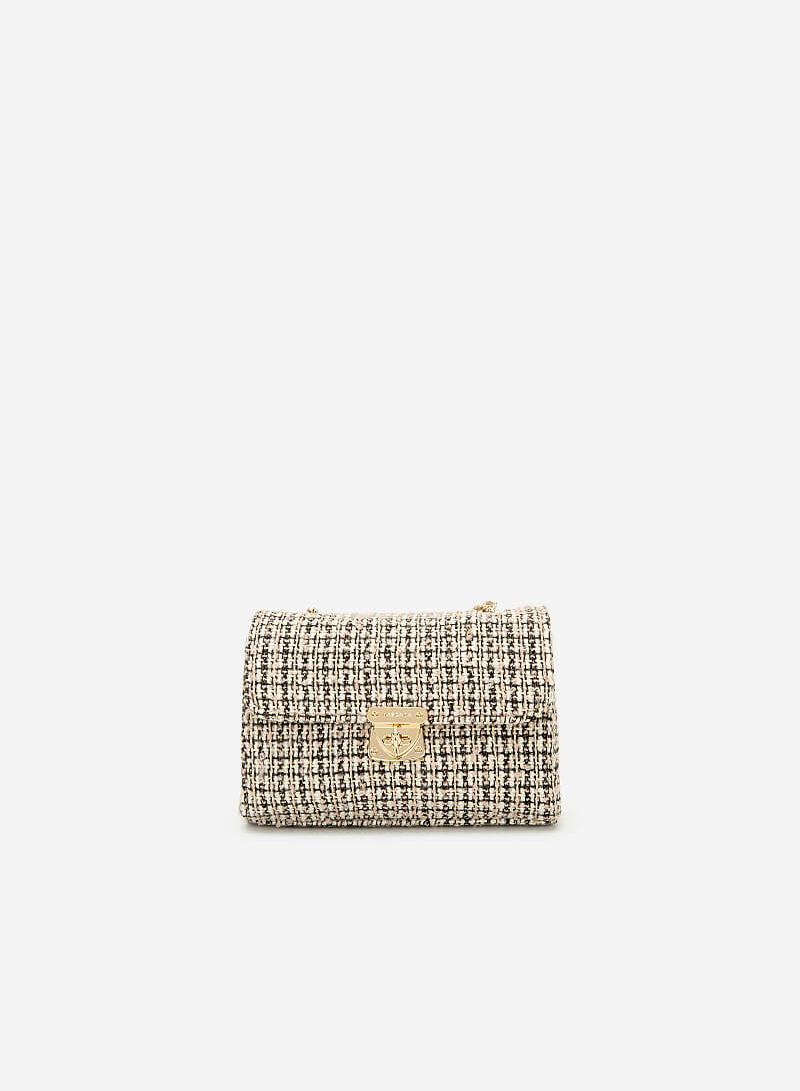 Túi Đeo Chéo Vải Tweed - SHO 0149 - Màu Hồng Nhạt - VASCARA