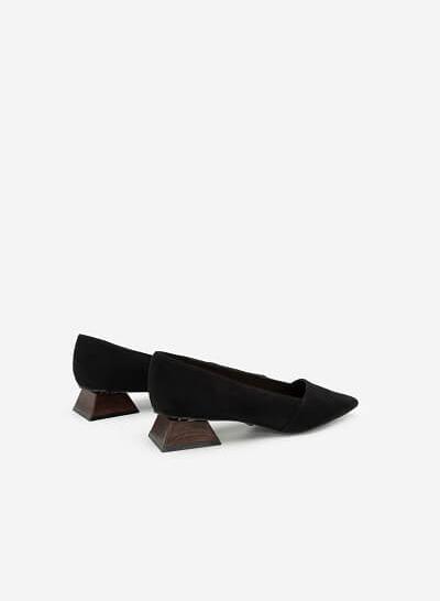 Giày Bít Mũi Nhọn Nubuck Gót Trụ Tứ Giác - BMN 0441 - Màu Đen - VASCARA