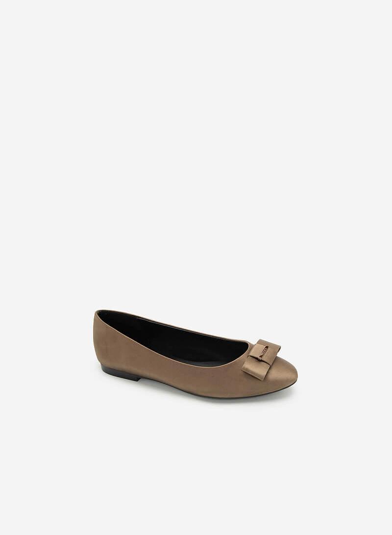 Giày Búp Bê Satin Đính Nơ - GBB 0418 - Màu Be Đậm - vascara.com