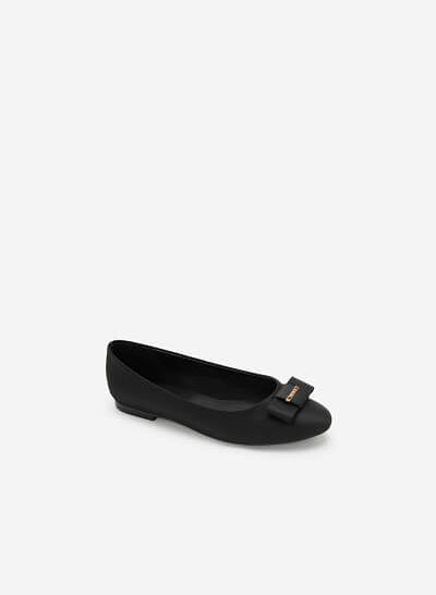 Giày Búp Bê Satin Đính Nơ - GBB 0418 - Màu Đen
