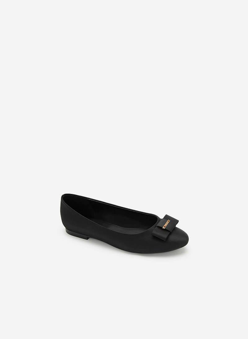 Giày Búp Bê Satin Đính Nơ - GBB 0418 - Màu Đen - VASCARA