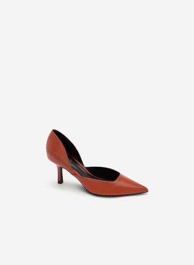 Giày Cao Gót Mũi Nhọn D'orsay - BMN 0443 - Màu Cam Đậm