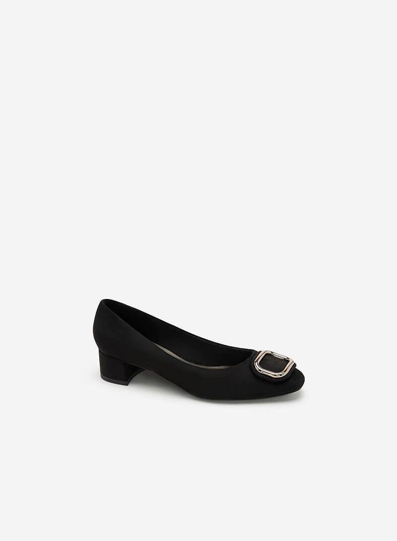 Giày Da Nubuck Đính Khóa Kim Loại - BMN 0436 - Màu Đen - VASCARA
