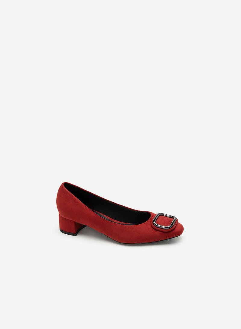 Giày Da Nubuck Đính Khóa Kim Loại - BMN 0436 - Màu Đỏ Đậm - VASCARA