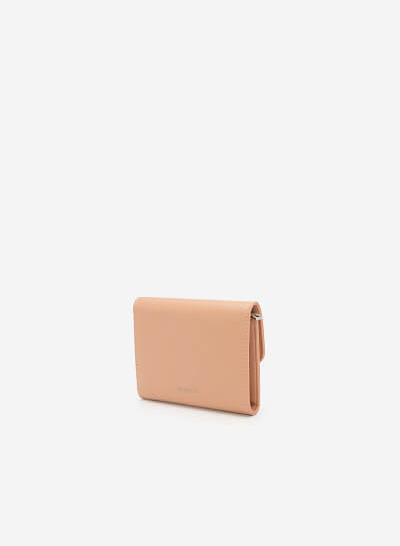 Ví Cầm Tay Mini Trang Trí Kim Loại Hình Học - WAL 0197 - Màu Hồng Nhạt - VASCARA