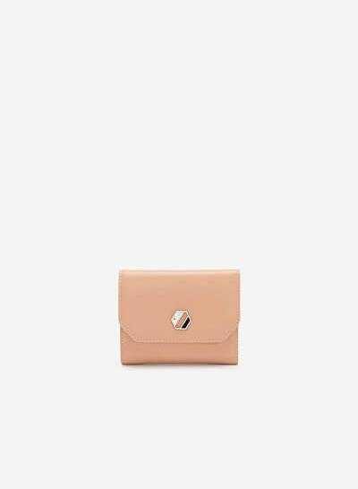Ví Cầm Tay Mini Trang Trí Kim Loại Hình Học - WAL 0197 - Màu Hồng Nhạt