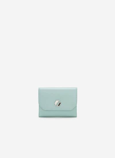 Ví Cầm Tay Mini Trang Trí Kim Loại Hình Học - WAL 0197 - Màu Xanh Bạc Hà