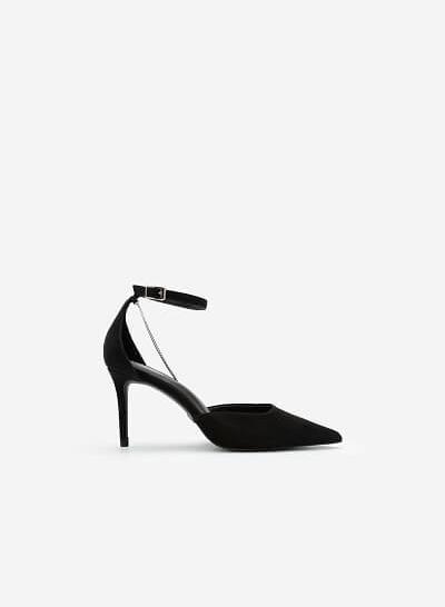 Giày Bít Mũi Nhọn Ankle Strap Đính Dây Kim Loại Bạc - BMN 0491 - Màu Đen - VASCARA