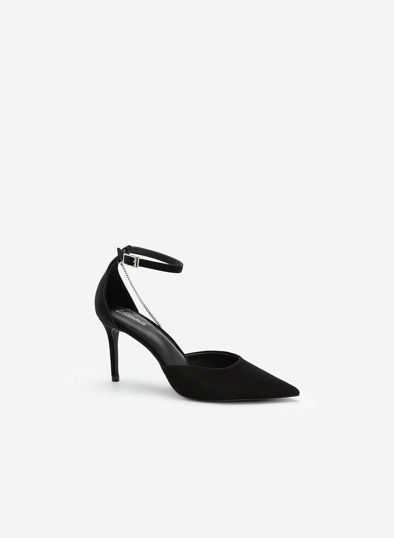 Giày Bít Mũi Nhọn Ankle Strap Đính Dây Kim Loại Bạc - BMN 0491 - Màu Đen - vascara.com