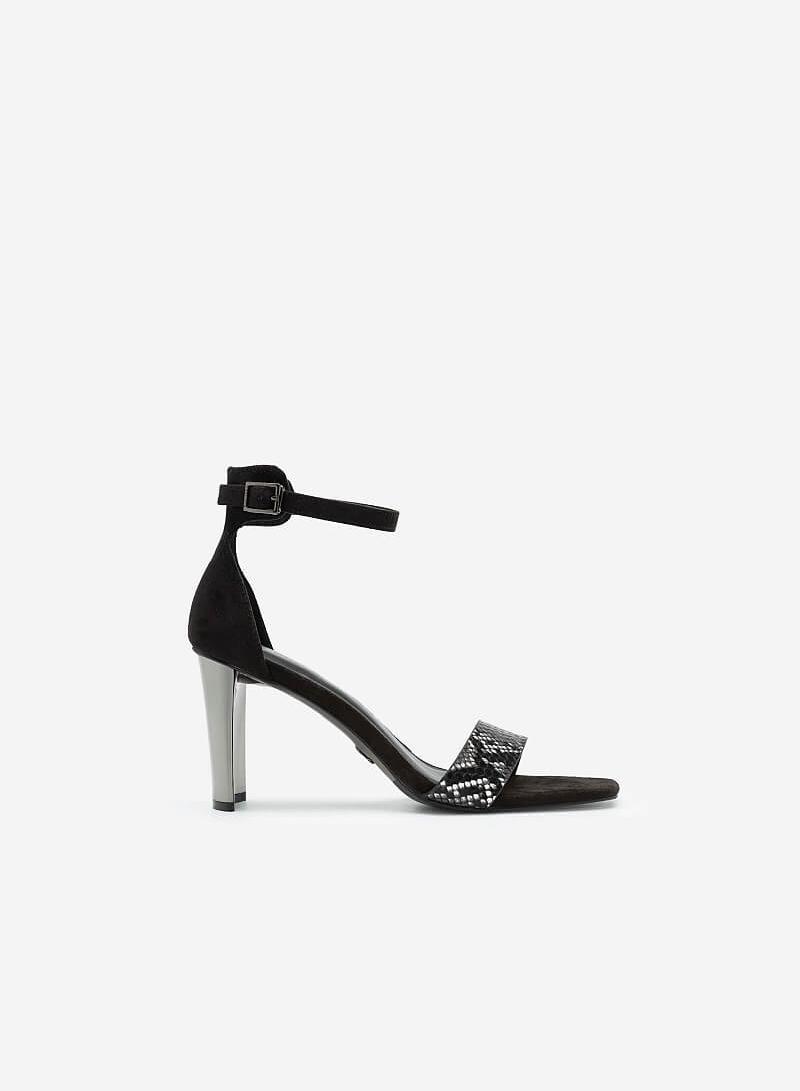 Giày Sandal Ankle Strap Da Nubuck Quai Vân Da Rắn - SDN 0693 - Màu Đen - vascara.com