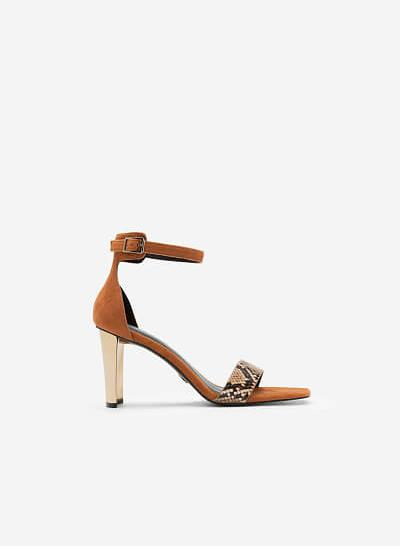 Giày Sandal Ankle Strap Da Nubuck Quai Vân Da Rắn - SDN 0693 - Màu Nâu