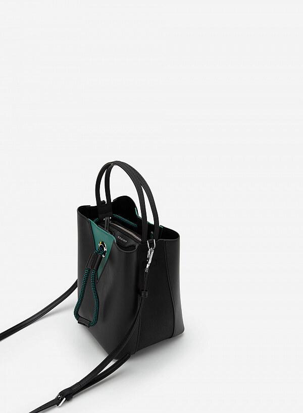Bucket Bag Khóa Dây Rút Phối Nubuck - SAT 0272 - Màu Đen - VASCARA