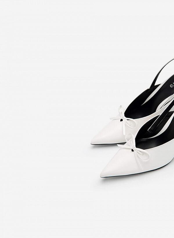 Giày Slingback Mũi Nhọn Đính Nơ Thanh Lịch - BMN 0460 - Màu Trắng - VASCARA