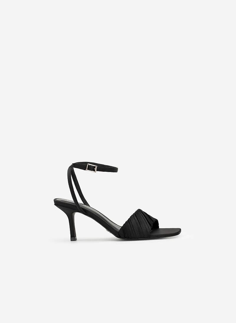 Giày Ankle Strap Quai Ngang Xếp Ly - SDN 0691 - Màu Đen - vascara.com