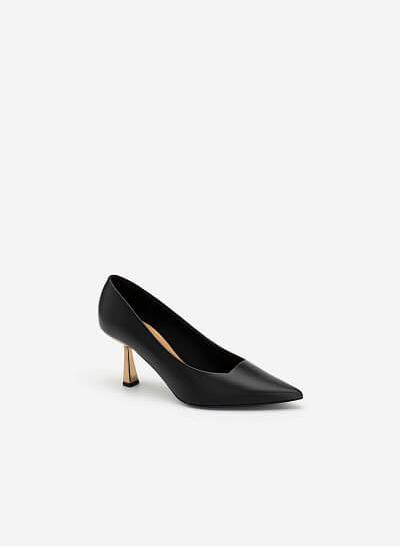 Giày Bít Mũi Nhọn Gót Metallic - BMN 0474 - Màu Đen - VASCARA