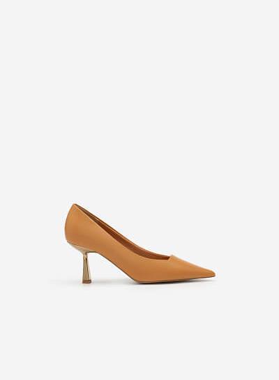 Giày Bít Mũi Nhọn Gót Metallic - BMN 0474 - Màu Nâu Sáng