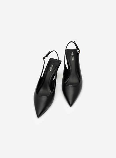 Giày Slingback Mũi Nhọn Gót Trụ Metallic - BMN 0480 - Màu Đen - VASCARA
