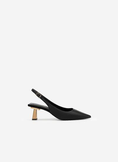 Giày Slingback Mũi Nhọn Gót Trụ Metallic - BMN 0480 - Màu Đen