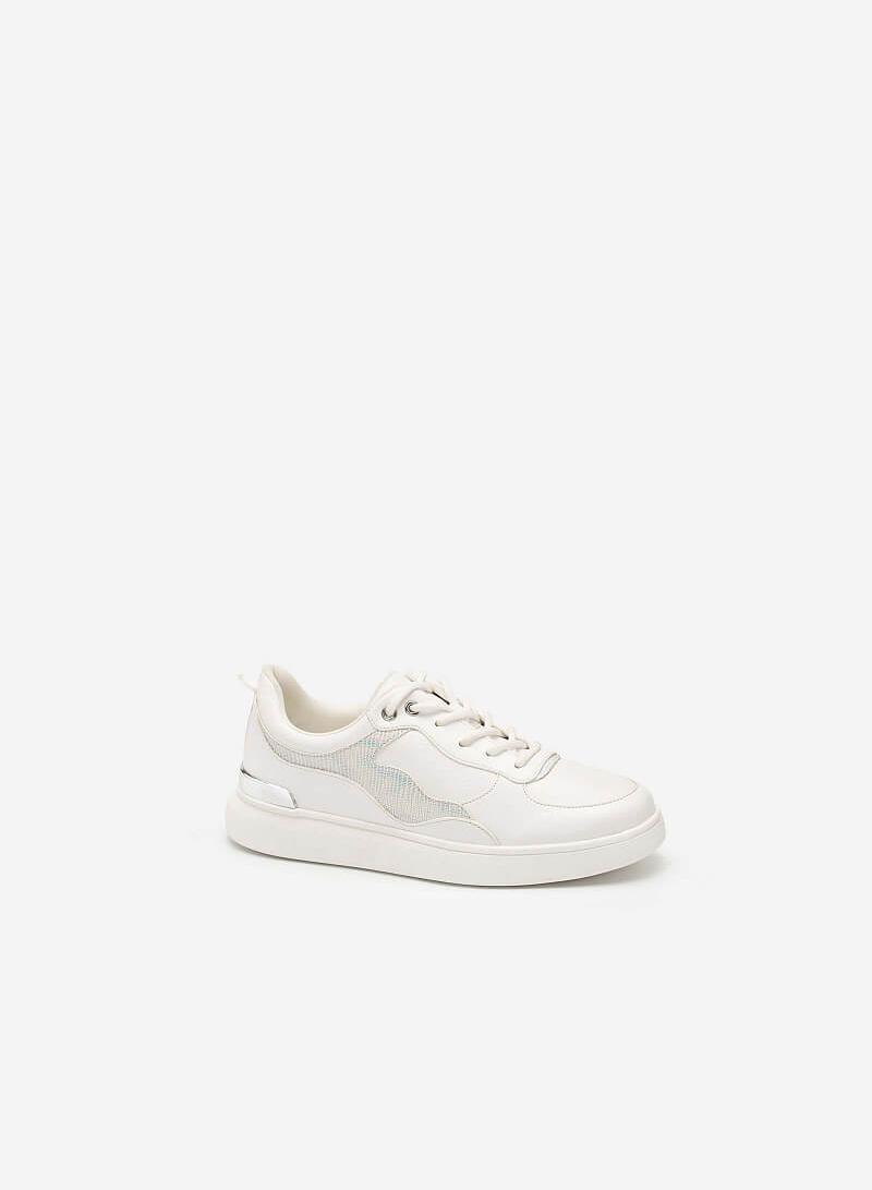 Giày Sneaker Gót Đính Metallic Phối Da Hologram - SNK 0038 - Màu Trắng - vascara.com