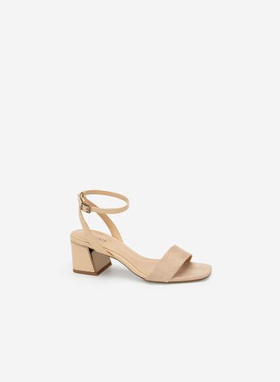 Giày Sandal Gót Hình Kim Tự Tháp Aztec - SDN 0678 - Màu Be