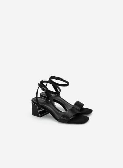 Giày Sandal Gót Hình Kim Tự Tháp Aztec - SDN 0678 - Màu Đen - VASCARA