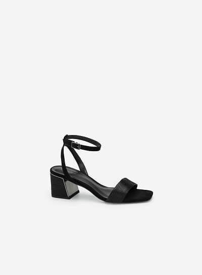 Giày Sandal Gót Hình Kim Tự Tháp Aztec - SDN 0678 - Màu Đen