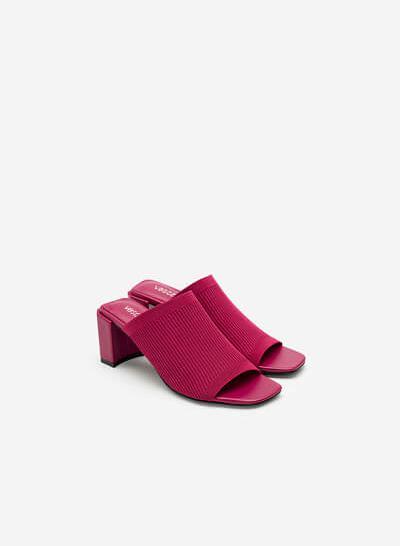 Guốc Mule Vải Knit Wide-Strap - GNN 0155 - Màu Hồng Đậm - VASCARA
