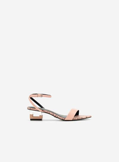 Giày Sandal Gót Hình Khối Đa Giác Phối Da Rắn - SDN 0685 - Màu Hồng Đậm