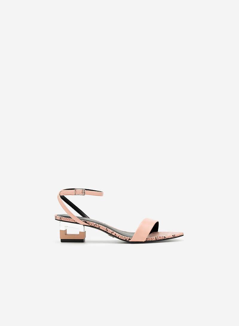 Giày Sandal Gót Hình Khối Đa Giác Phối Da Rắn - SDN 0685 - Màu Hồng Đậm - VASCARA