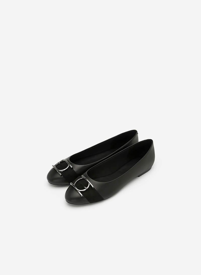 Giày Búp Bê Trang Trí Vòng Metallic Tròn - GBB 0413 - Màu Đen - vascara.com