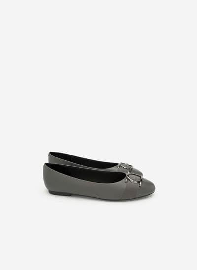 Giày Búp Bê Trang Trí Vòng Metallic Tròn - GBB 0413 - Màu Xám - VASCARA