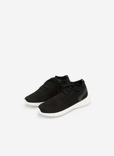 Giày Sneaker Vải Knit Cổ Co Giãn - SNK 0022 - Màu Đen - VASCARA
