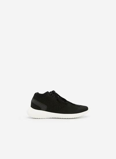 Giày Sneaker Vải Knit Cổ Co Giãn - SNK 0022 - Màu Đen